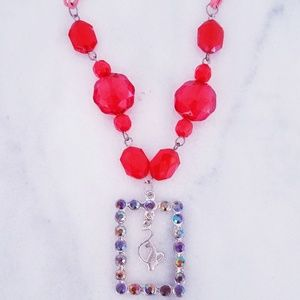❤ 4 for $25 ❤ Red Baby Phat Cat Crystal Necklace
